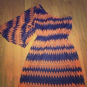 Judith March Dress Sz Med. orange/navy blue